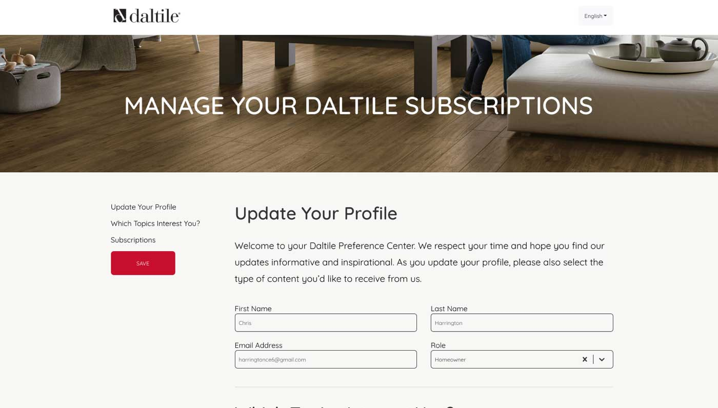 daitile no code preference center image